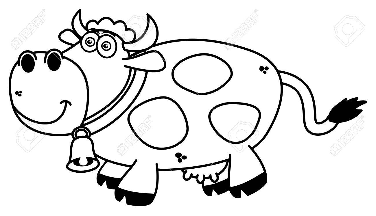 A Smiling Cow Coloring Royalty Free Cliparts, Vectors, And Stock ...