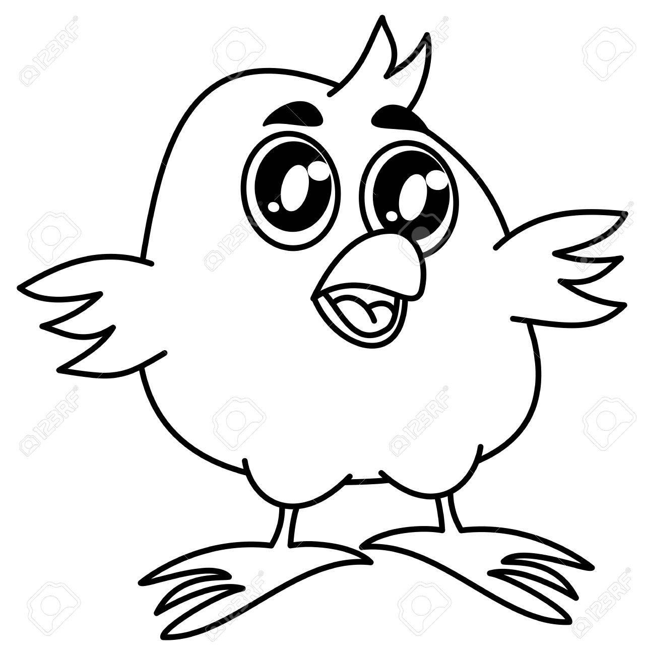 Pequeño Pájaro Sonriente Para Colorear Ilustraciones Vectoriales ...