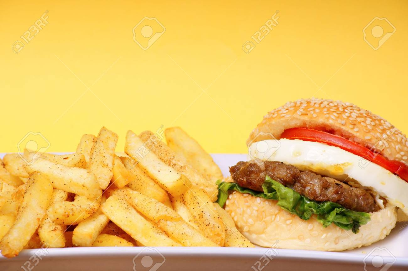 burger with fries Stock Photo - 8979116