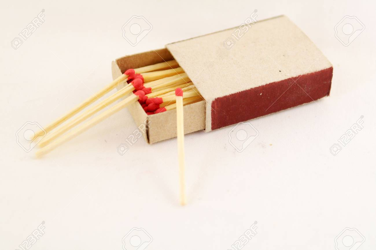 Matchbox and four matches around Stock Photo - 969563