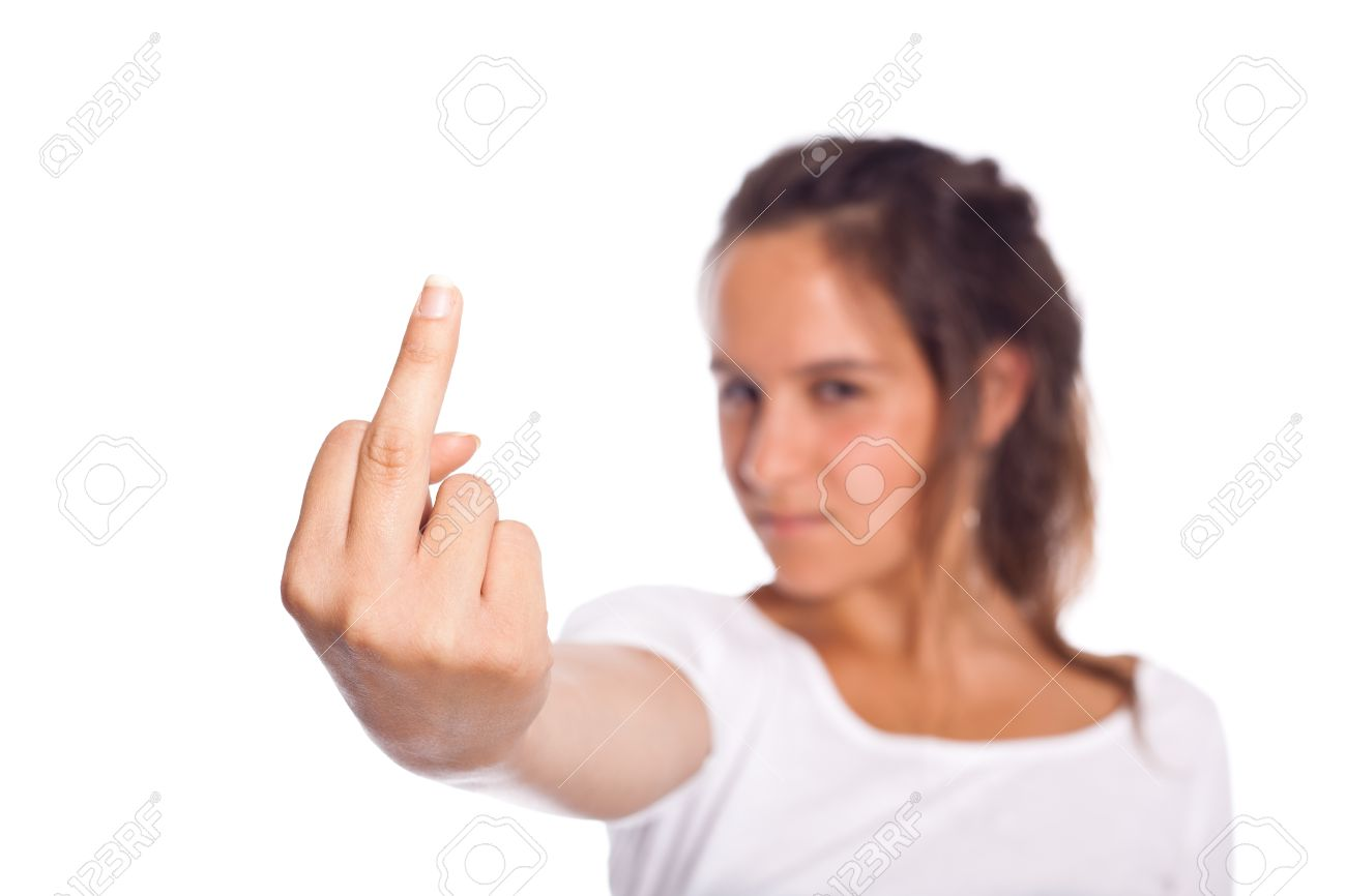 Young Girl showing Middle Finger Stock Photo - 10207092