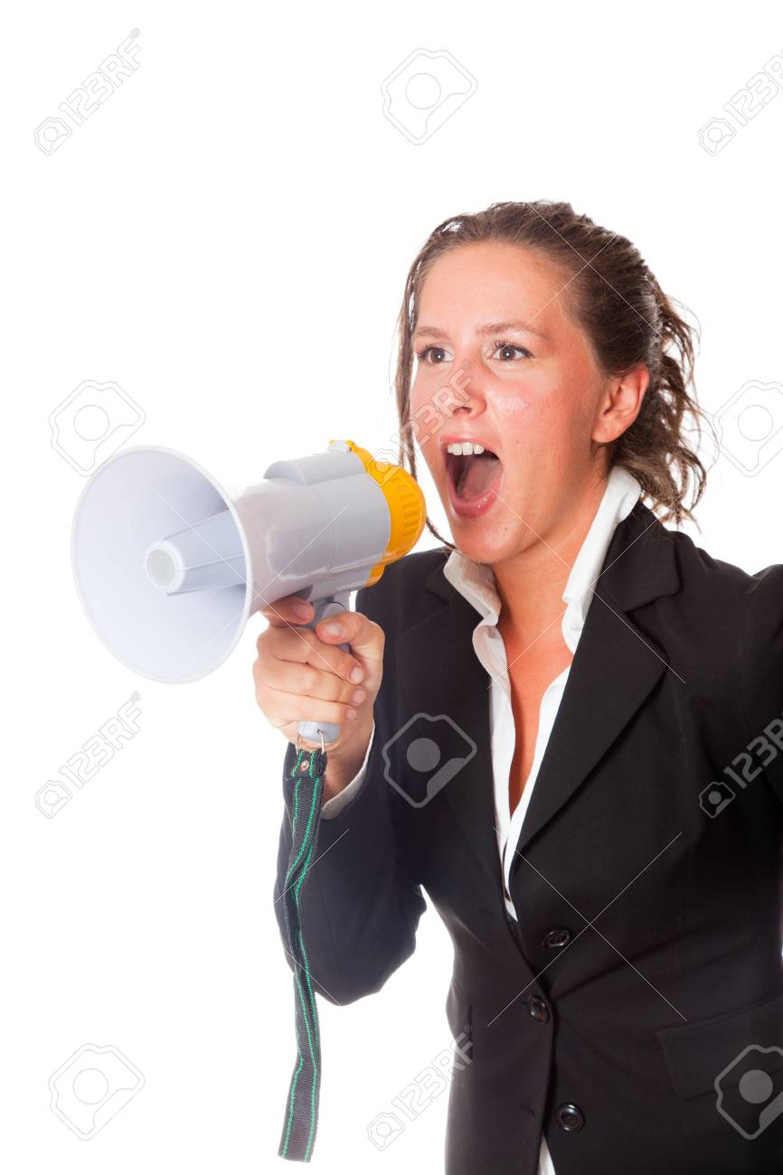Business Woman Talking Through Megaphone Stock Photo - 10719561