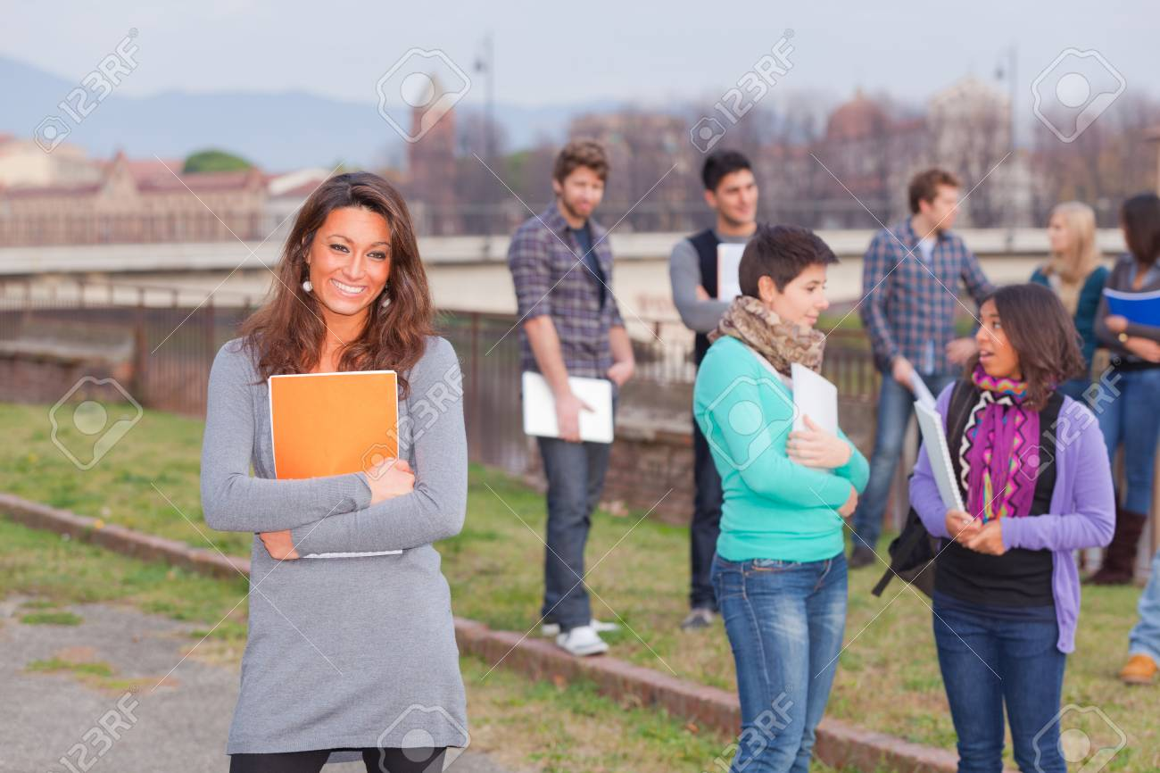 Multicultural College Students at Park Stock Photo - 11586326