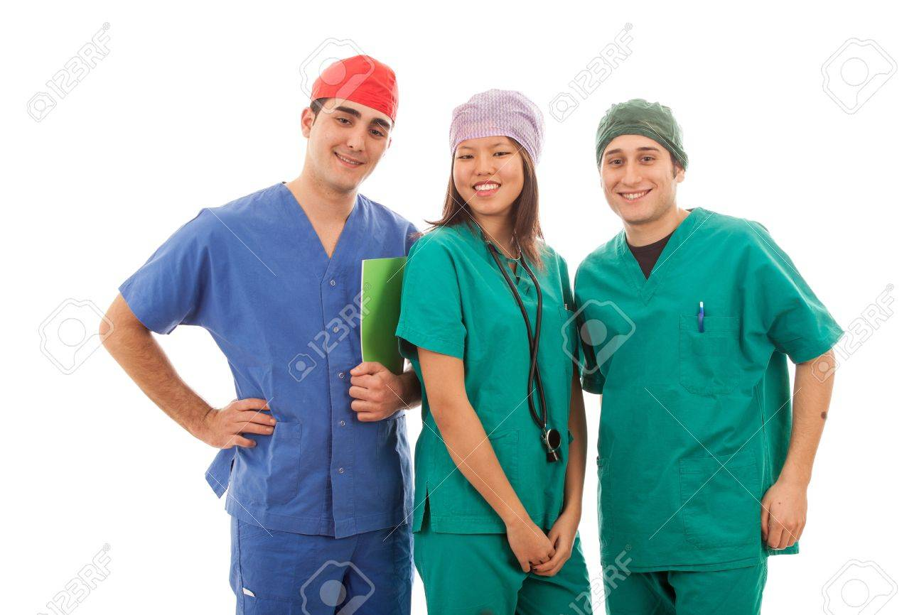 Multicultural Group of Doctors on White Stock Photo - 12120957