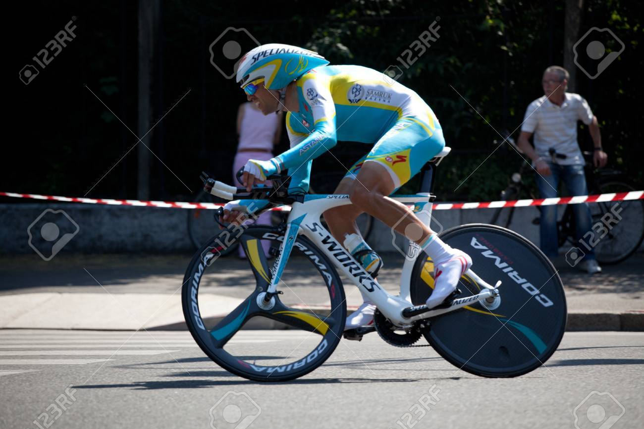 MILANO, ITALY - MAY 29: Cyclist Josep Jufre Pou during the 21th Stage of 2011 Giro d'Italia, an individual time trial stage, on May 29, 2011 in Milano, Italy Stock Photo - 12513336