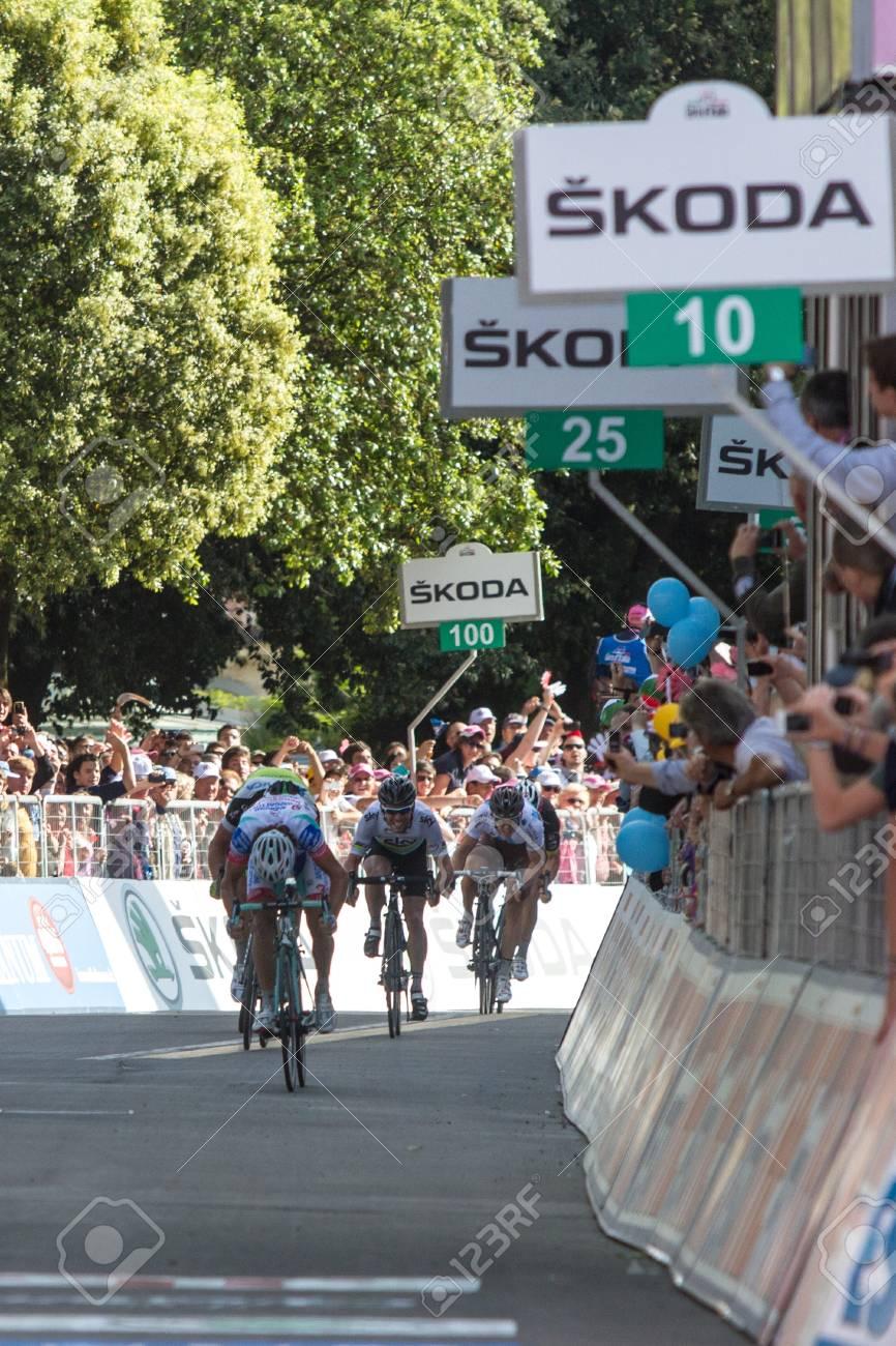 MONTECATINI TERME, ITALY - MAY 16: Roberto Ferrari, Team Androni Giocattoli, wins the 11th stage of 2012 Giro d Stock Photo - 13685663