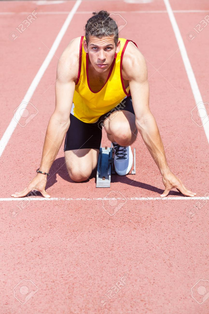Male Track and Field Athlete before the Race Start Stock Photo - 14068216
