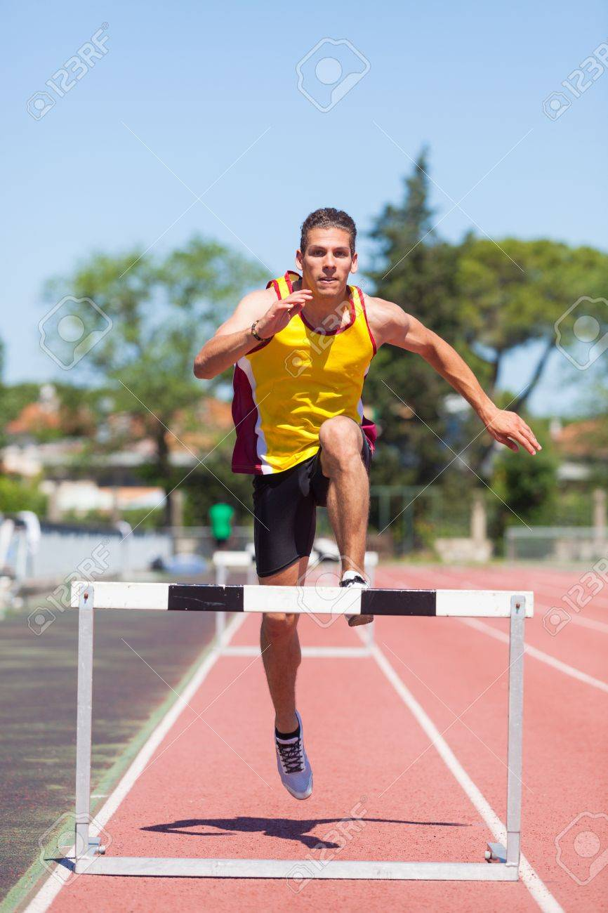 Male Track and Field Athlete during Obstacle Race Stock Photo - 14190342