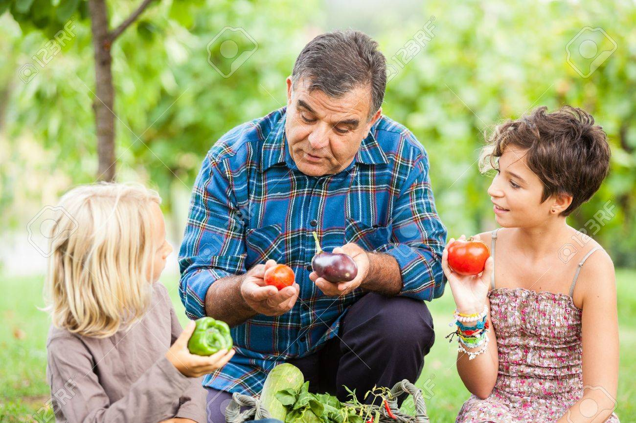 Adult Farmer with Children and Harvested Vegetables Stock Photo - 15391978