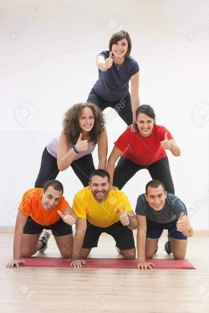 Human Pyramid and Thumbs Up