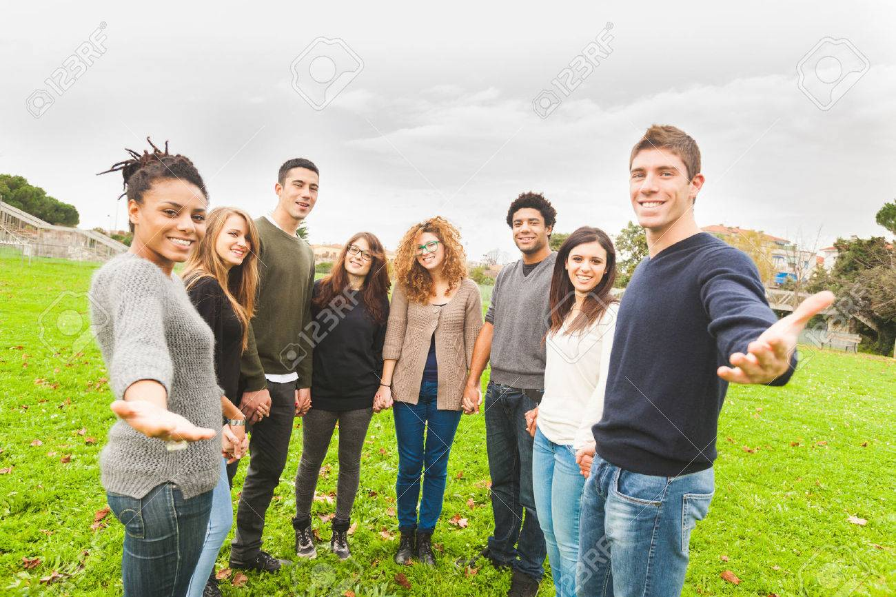 Multiethnic Group of Friends Giving a Hand - 34188693