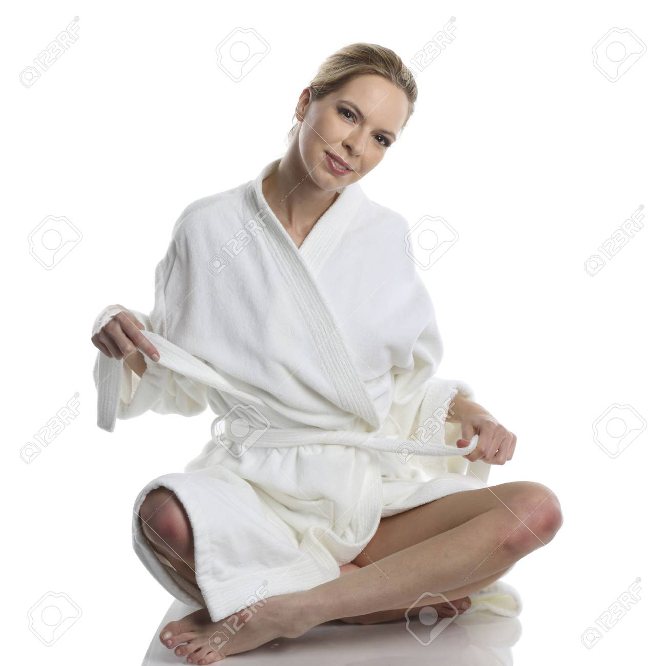 Stock Photo - very beautiful woman dressed in a white bathrobe in wellness  style b90f259b5