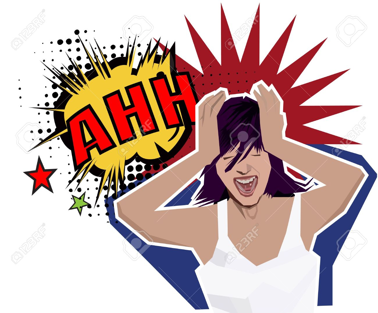 a beautiful girl cracking under pressure Stock Vector - 6722101