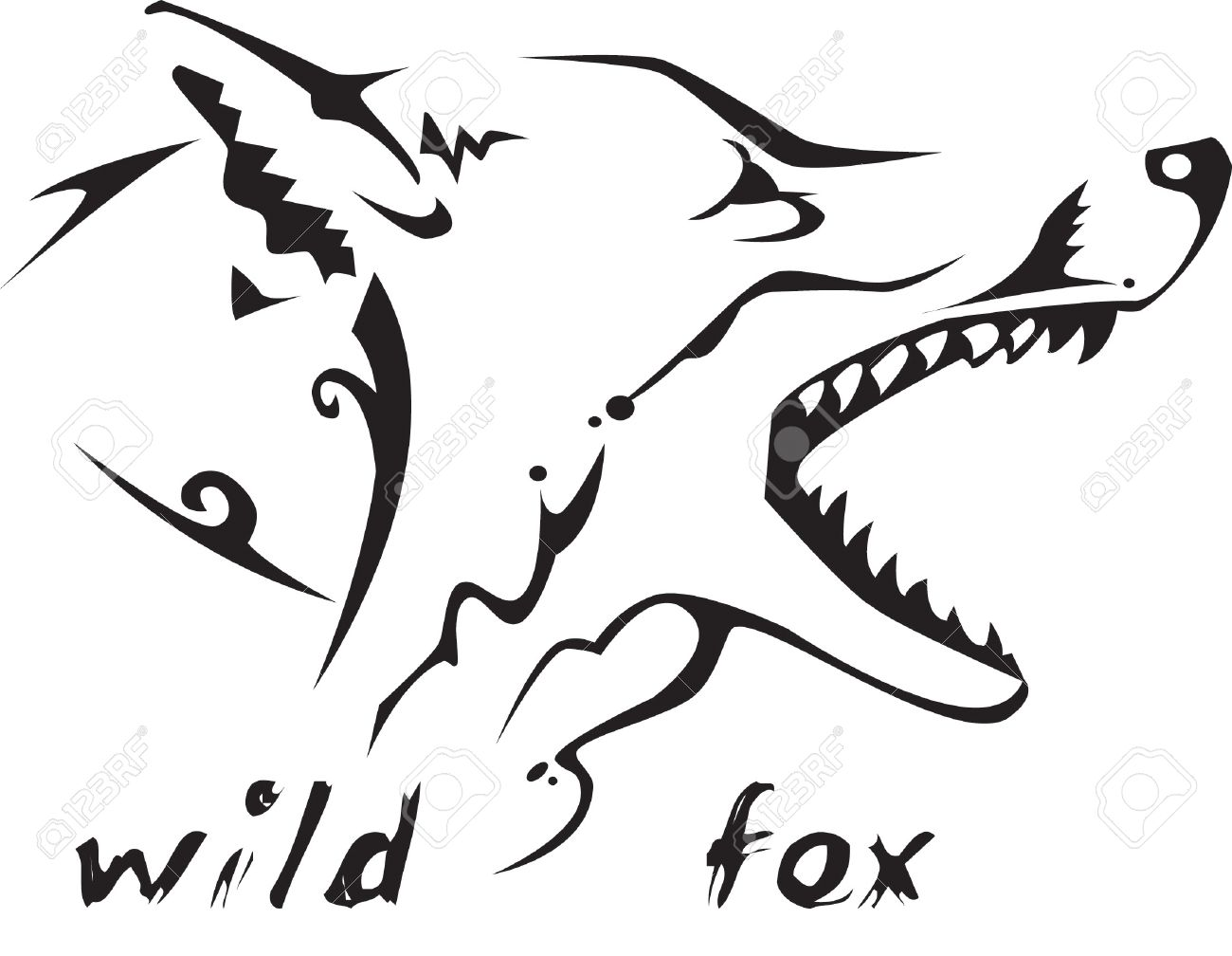 banque dimages noir et blanc vecteur renard sauvage tte tatouage tribal style trs facile modifier tous les lments sont spars