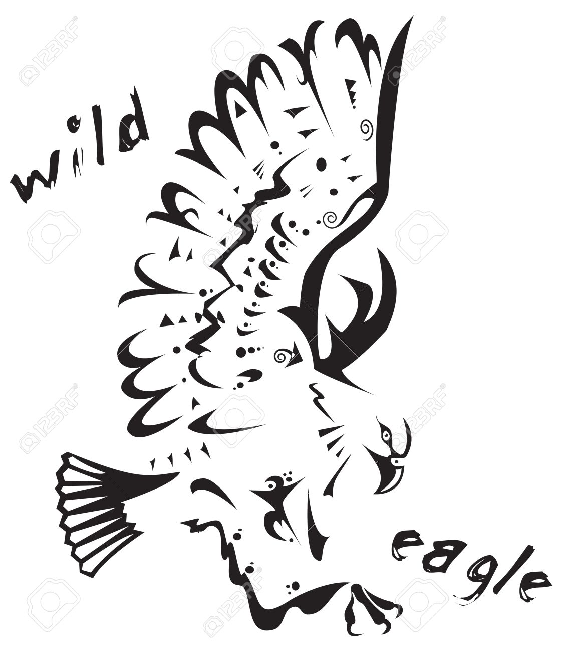 Black And White Vector Wild Eagle Tribal Tattoo Style Very