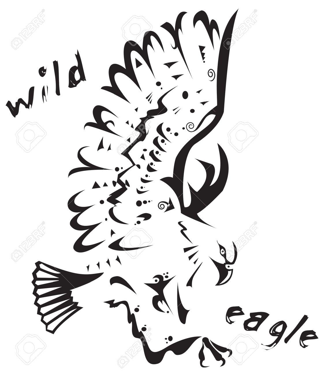 Noir Et Blanc Vecteur Aigle Sauvage Tatouage Tribal Style Tres