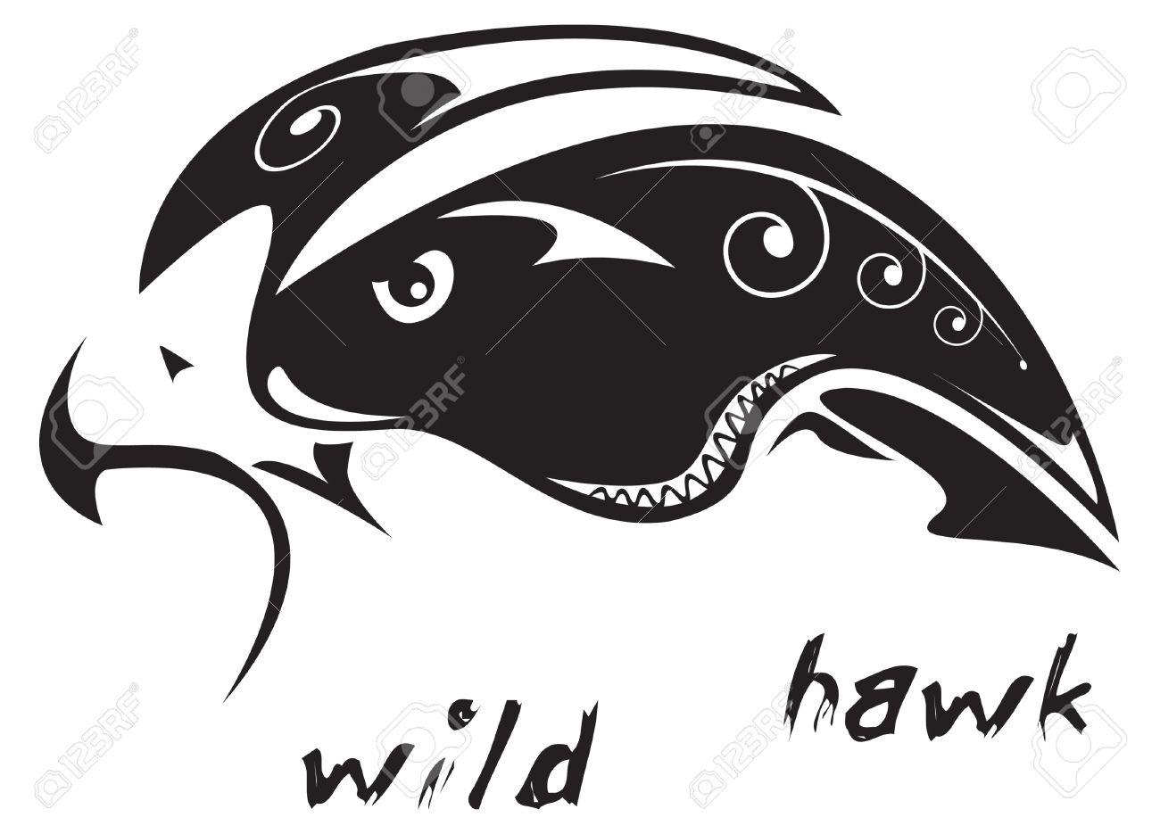 Noir Et Blanc Vecteur Faucon Sauvage Tatouage Tribal Style Tres