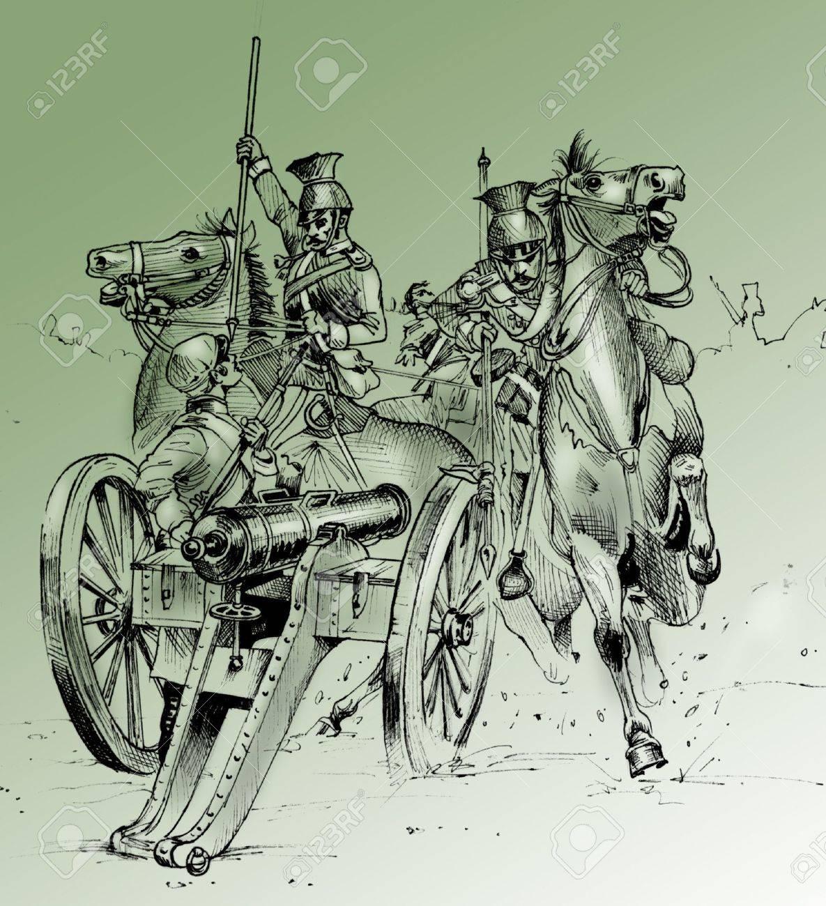 手はクリミア戦争 (1853年-1856 年) から戦闘シーンのイラストを描かれ ...