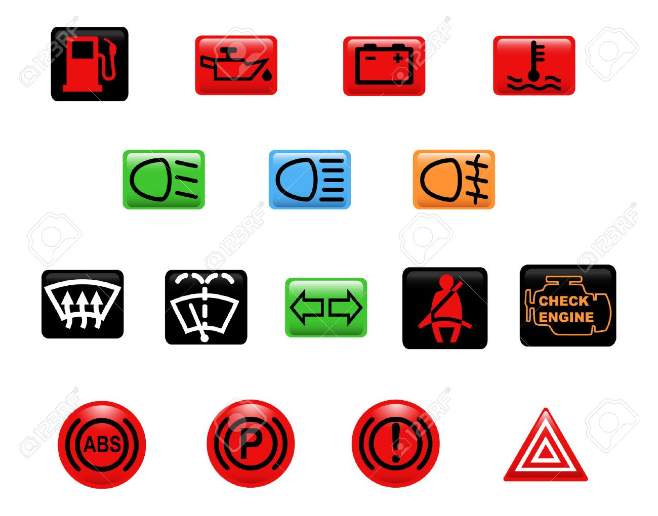 Computer generated illustration set of icons car warning lights set of icons car warning lights stock vector 5355021 buycottarizona Image collections