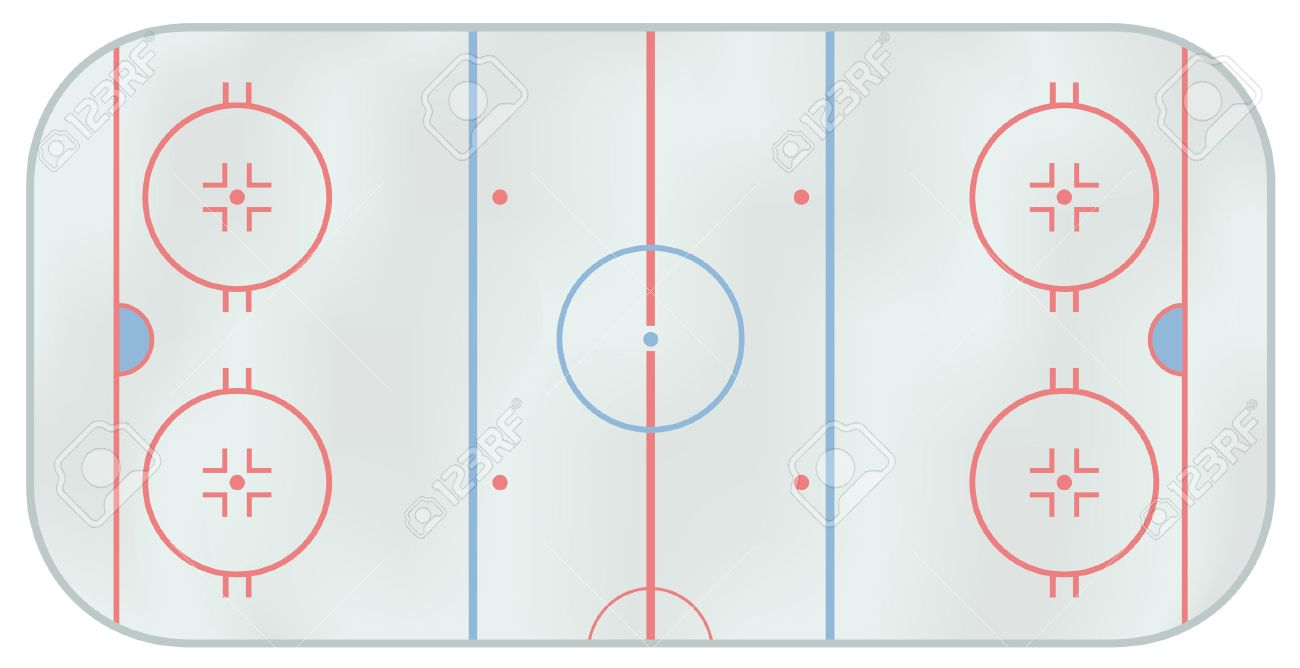 Computer generated illustration of an ice hockey rink. Above view Stock Vector - 6376329