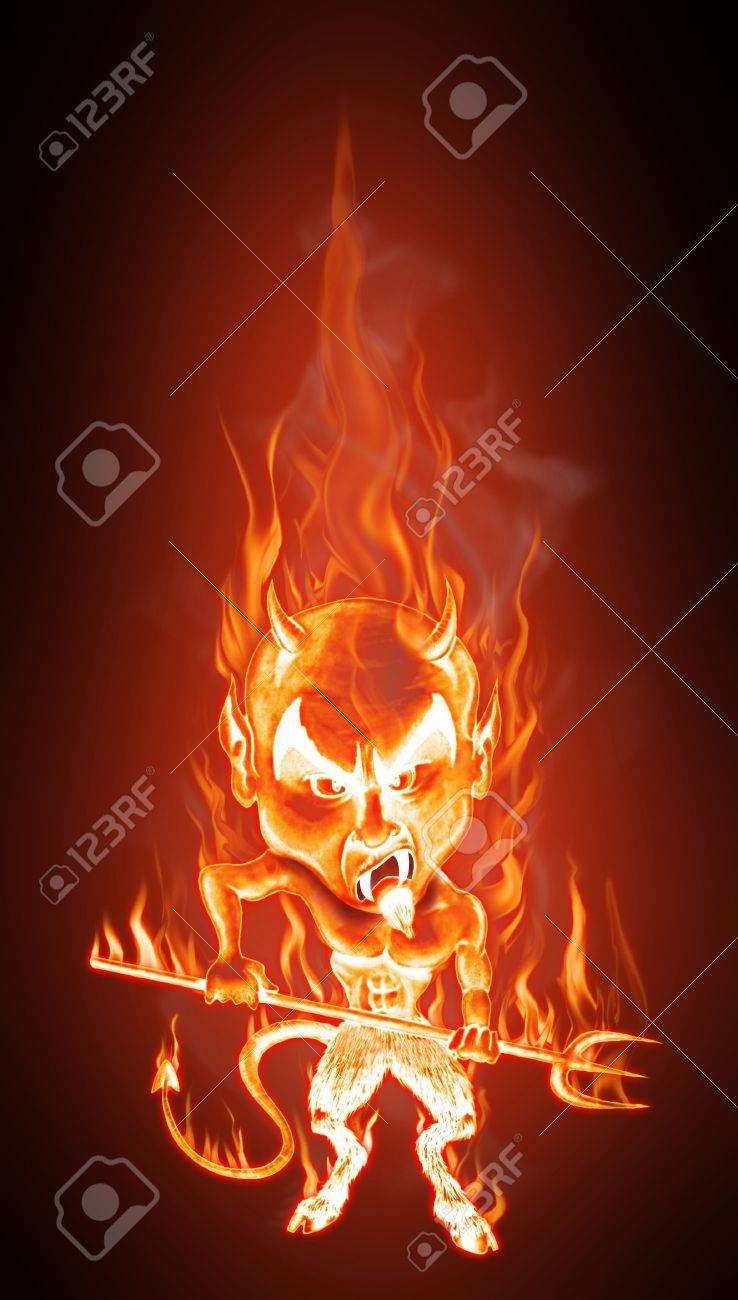 Grotesque caricature of an angry burning devil. Cartoon style - Realistic flames effect Stock Photo - 7687851