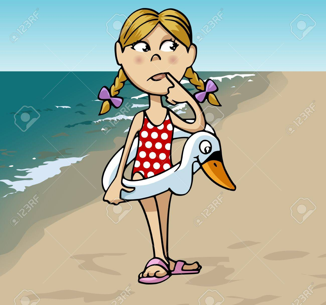 Cartoon-style illustration: a little cute blonde girl with a swan-shaped lifebuoy at the beach Stock Illustration - 9866951