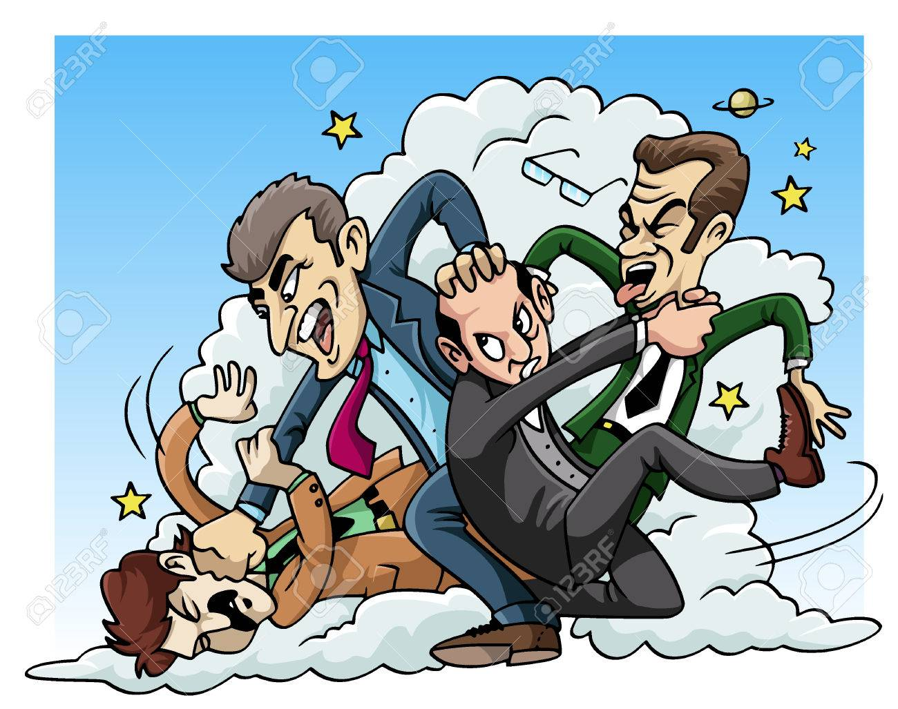 Cartoon Illustration Four Men Fighting Royalty Free Cliparts Vectors And Stock Illustration Image 35697301