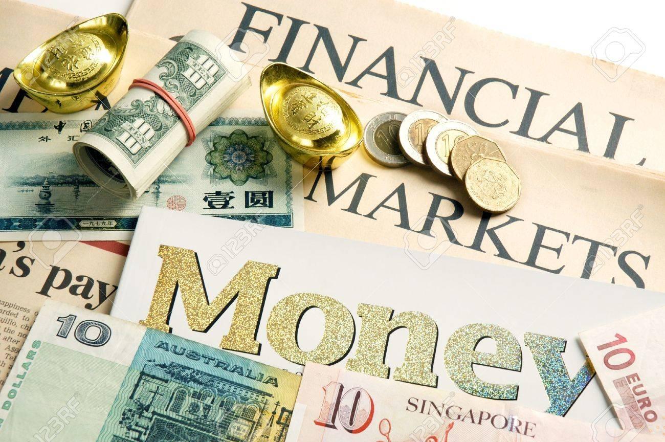 Financial News Mit Münzen Us Dollar Scheine Australischer Dollar