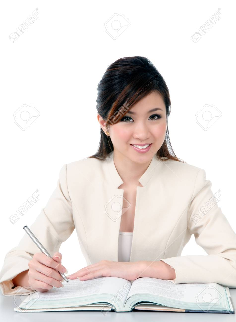 Portrait of a beautiful young businesswoman smiling over white background. Stock Photo - 7299381