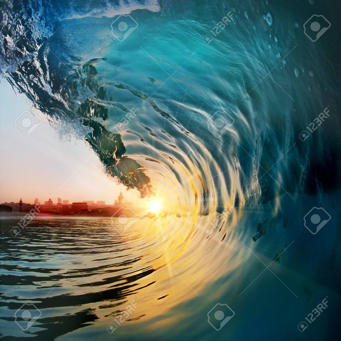 Beautiful ocean surfing wave at sunset beach. Tropical seaview design template Stock Photo - 60889208