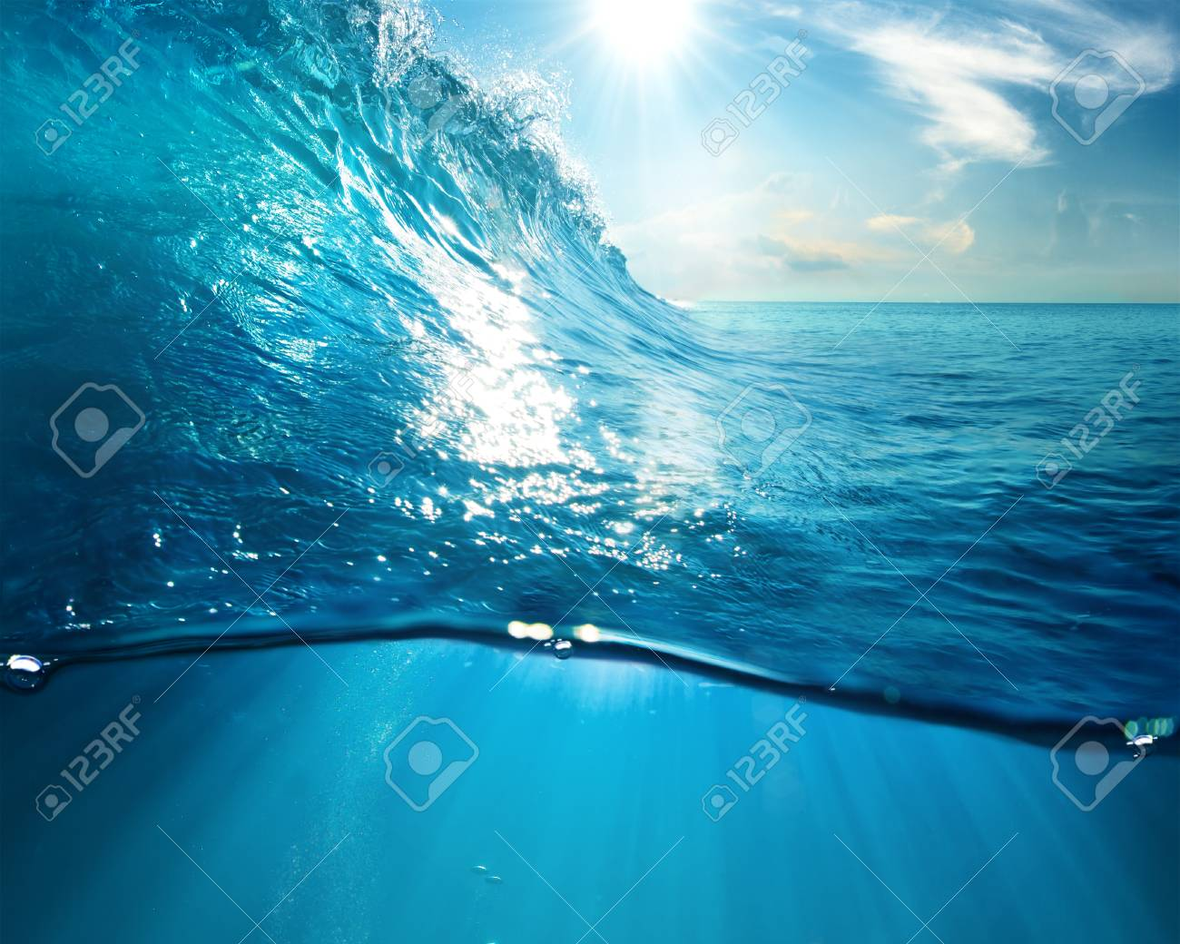 ocean view design template with underwater part and sunset skylight