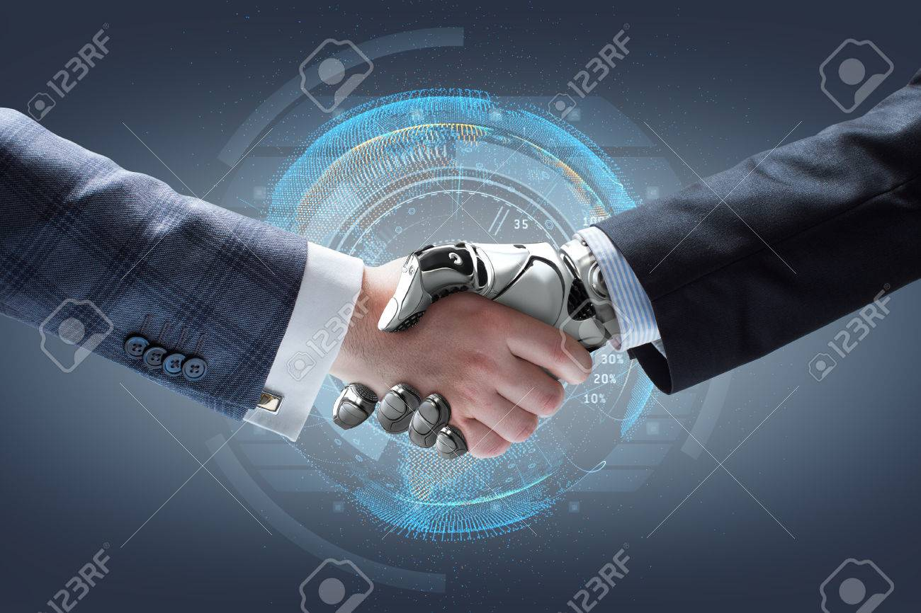 Businessman and robot's handshake with holographic Earth globe on background. Artificial intelligence technology - 60891384