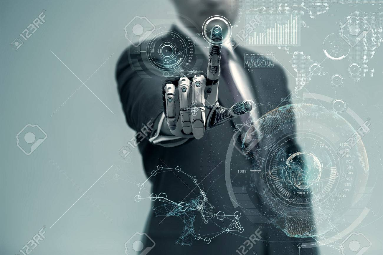 Businessman With Artificial Robotic Hand working on virtual holographic interface. Future technology as design concept. - 60891397