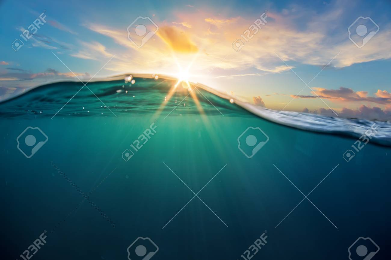 abstract ocean design template with underwater part and sunset