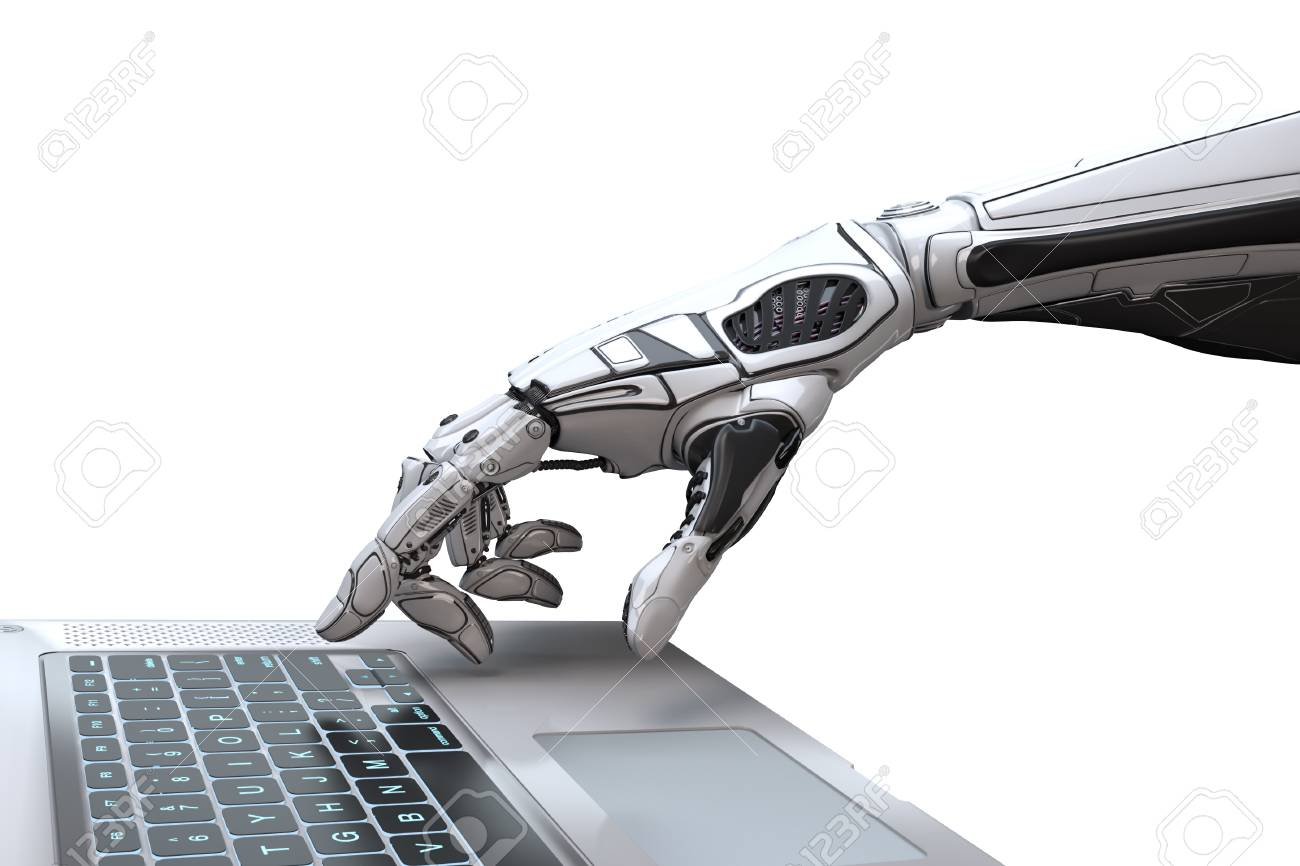 Futuristic robot hand typing and working with laptop keyboard. Mechanical arm with computer. 3d render on white background - 94101222