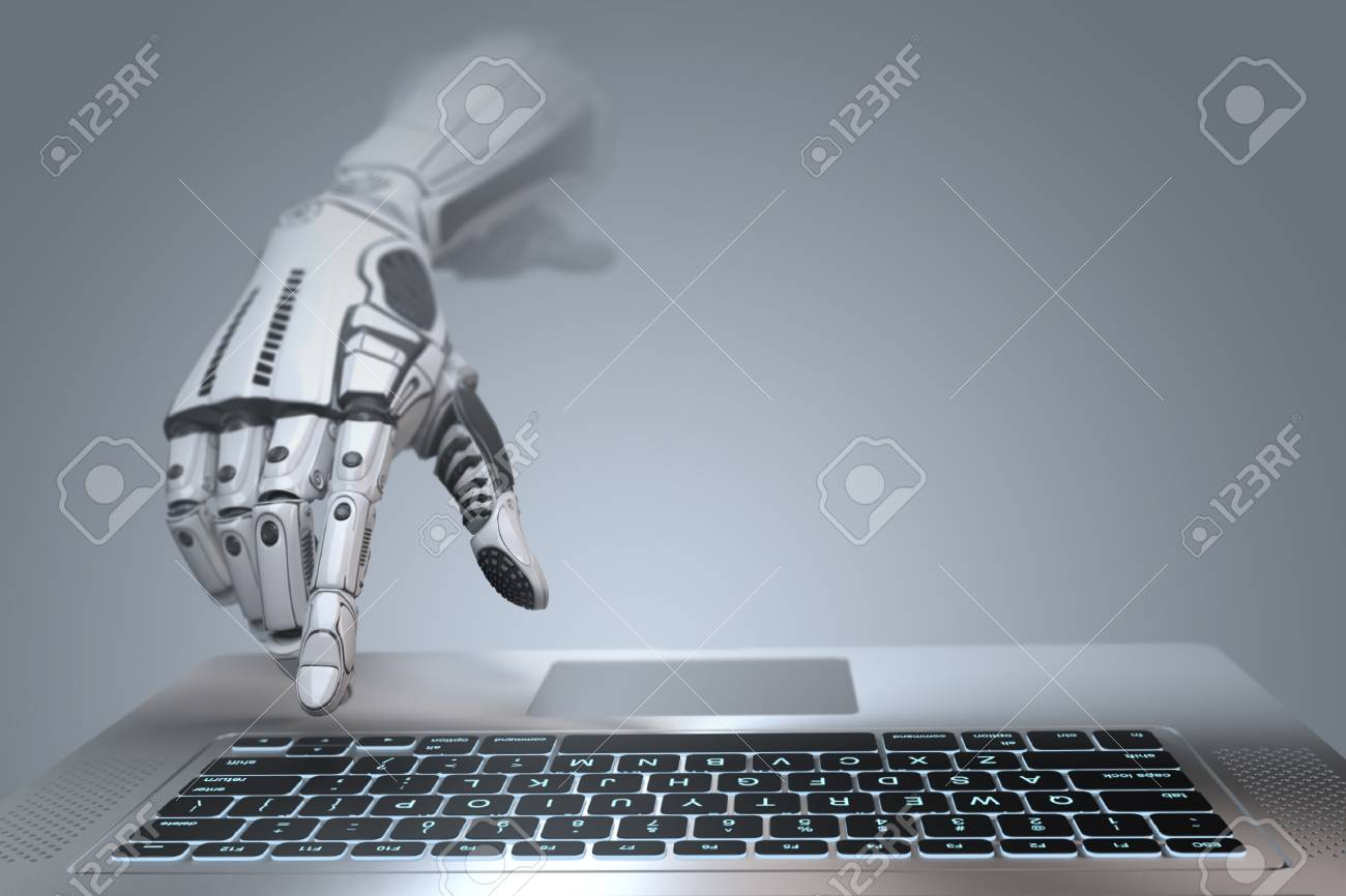 Futuristic robot hand typing and working with laptop keyboard. Mechanical arm with computer. 3d render on gradient gray background - 94101358