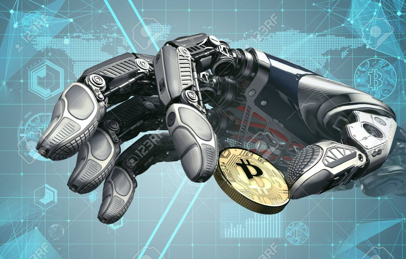 Robotic arm taking bitcoin against digital hud background  Artificial