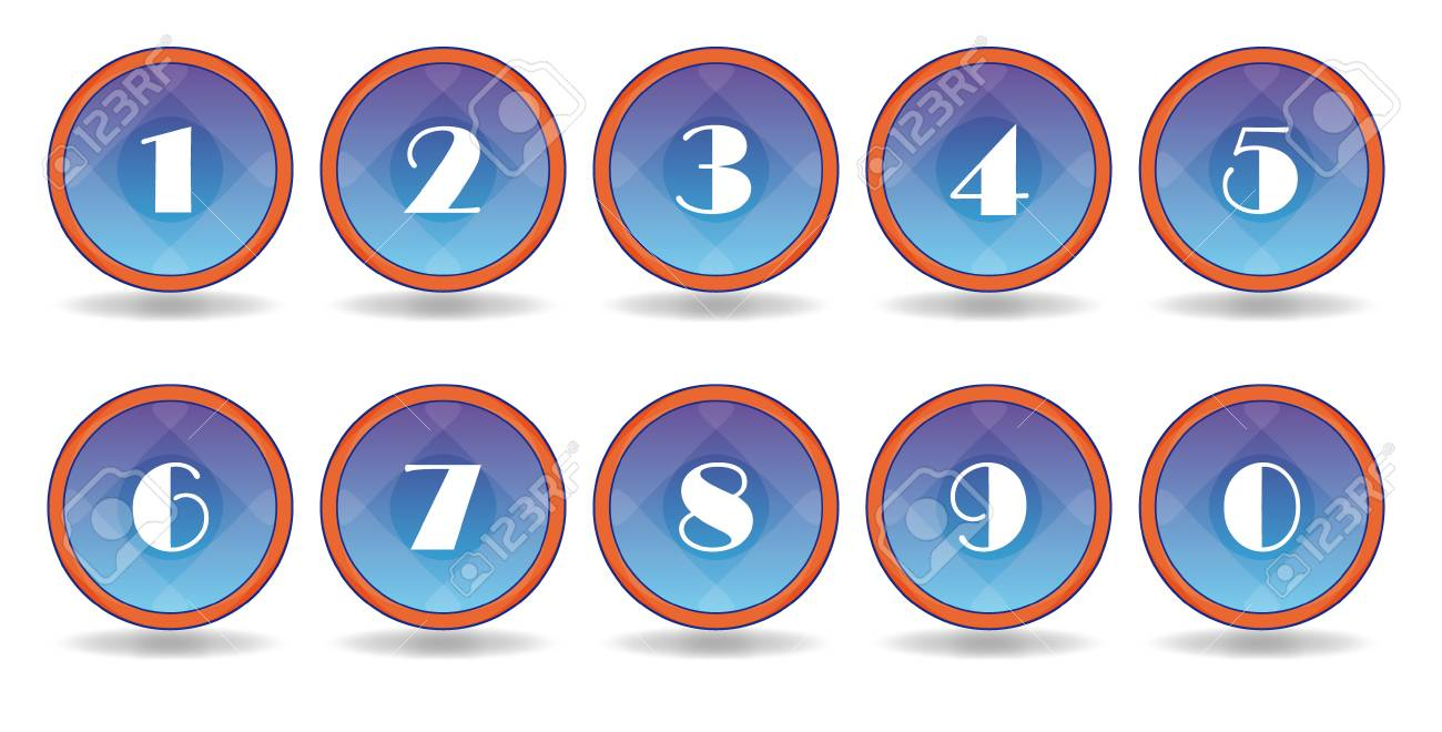 set blue  icons with white numbers Stock Vector - 8354670