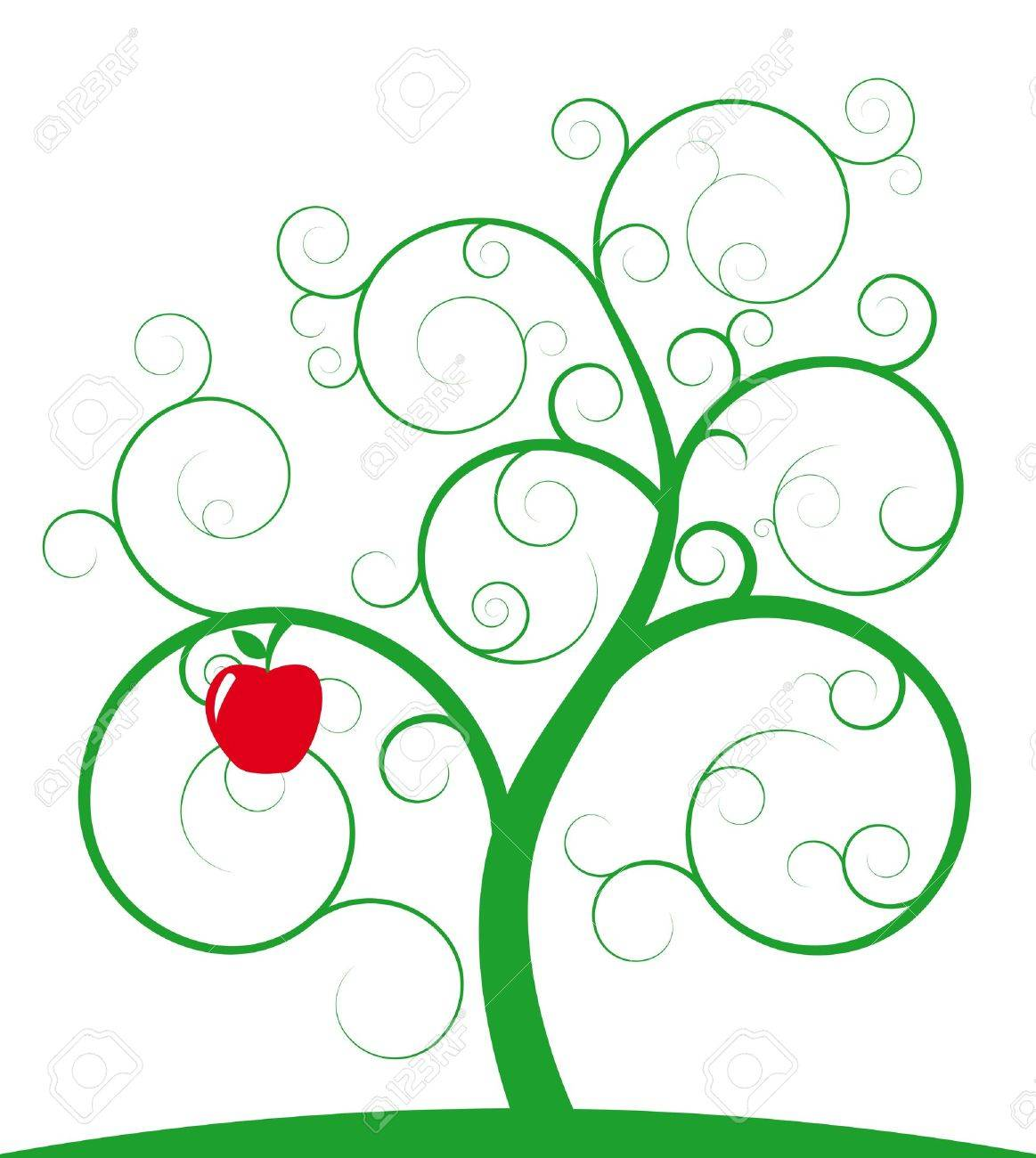 illustration of green spiral tree with red apple Stock Vector - 9576332