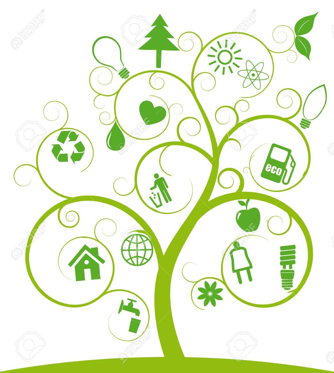 illustration of spiral tree with ecology symbols Stock Vector - 9624266