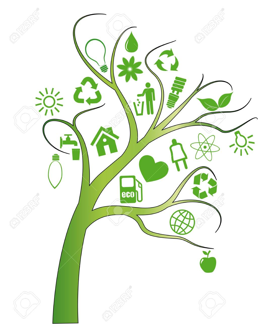illustration of tree with ecology symbols Stock Vector - 9719702