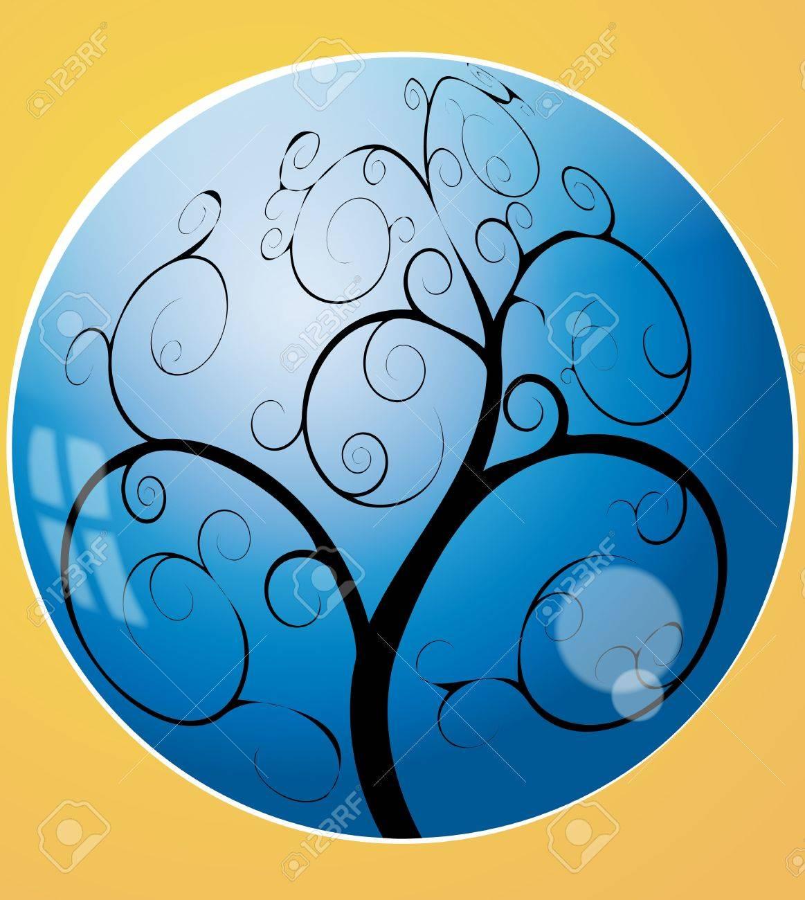illustration of swirl tree in the blue sphere Stock Vector - 10242741