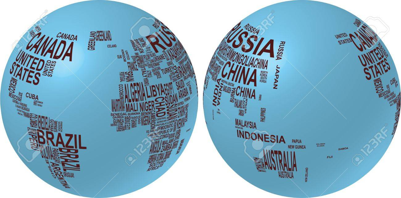 Illustration of world map globe with country name ilustraciones illustration of world map globe with country name foto de archivo 10536449 gumiabroncs Choice Image