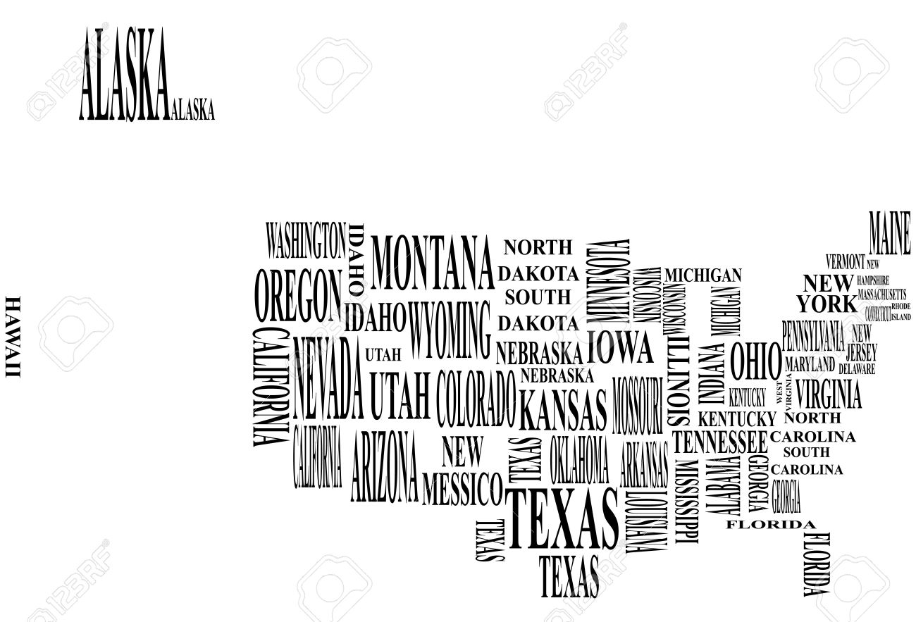 Illustration Of United States Map With Country Name Royalty Free - Us map texas vector