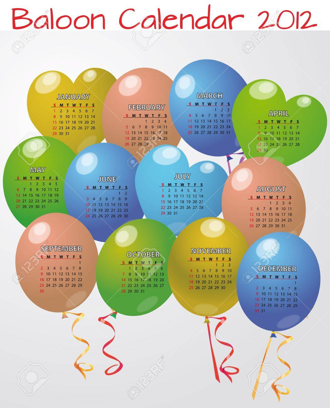 illustration of balloon calendar in english Stock Vector - 11127029