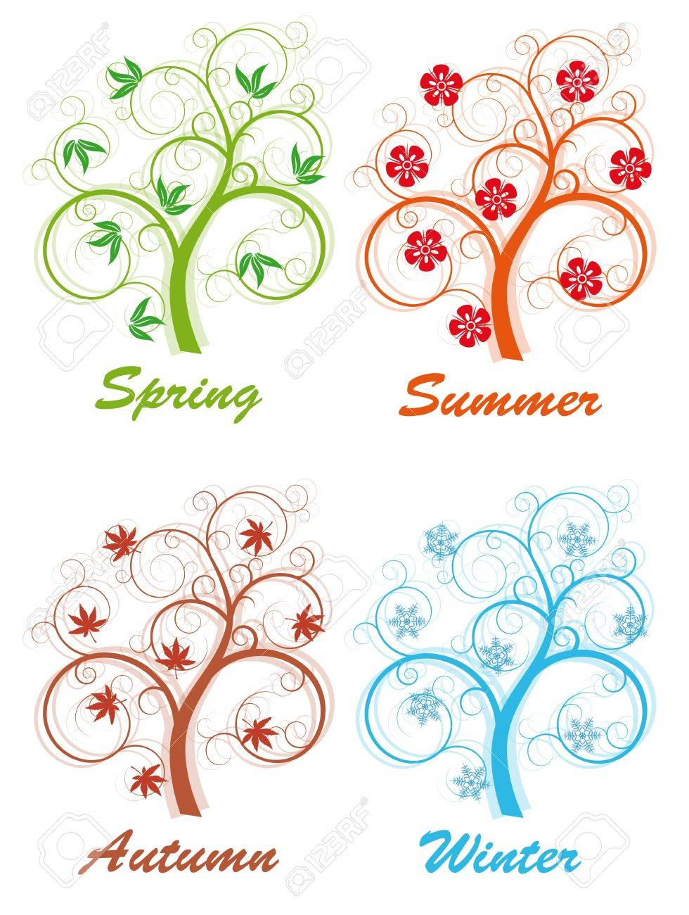 tree four seasons, spring, summer, autumn and winter Stock Vector - 11221275