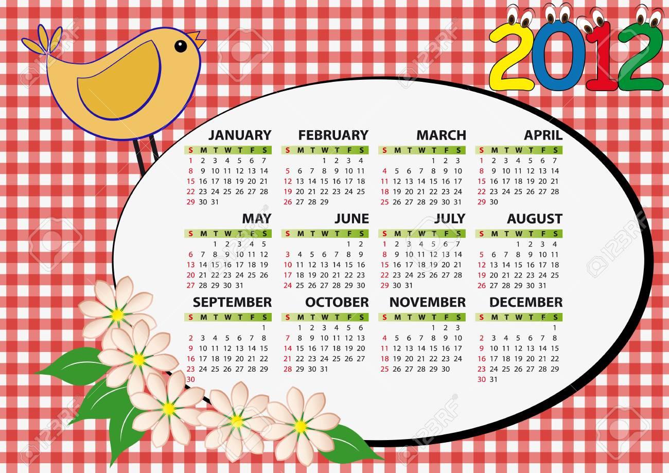 2012 bird and flower calendar for children Stock Vector - 11326836