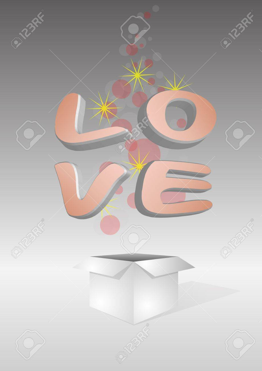 illustration of open box with love word Stock Vector - 11936379