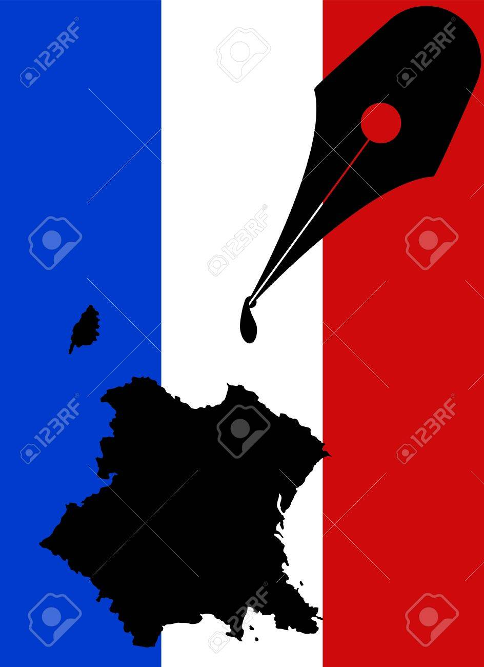 illustration of france ink shape with fountain pen Stock Vector - 12069108