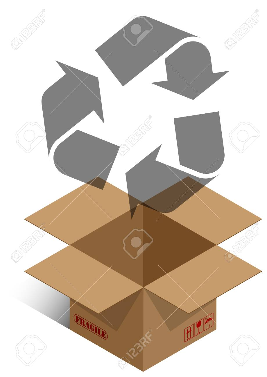 illustrator of brown box with recycle symbol Stock Vector - 12922561